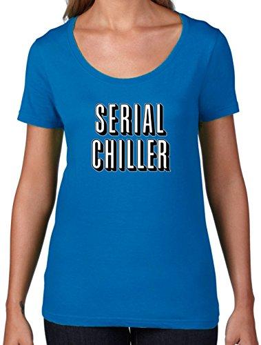 Serial Chiller - Damen T-Shirt mit Rundhalsausschnitt- Royalblau - M (Netflix Und Chill Halloween Kostüm)