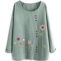 Xinxinyu Damas Estampado Floral Camisetas, Lino Gran Tamaño Casual Tops de Túnica, Otoño Holgado Cuello Redondo Blusas Pullover (XL, Verde)