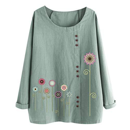 QIMANZI Langarmshirts Blusen Damen Beiläufig Übergröße Bluse Tops O-Neck Print Lose Taste Lange Ärmel T-Shirts Tuniken Pullover Sweatshirts(B Grün,L) -