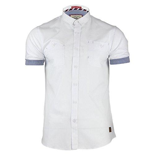 Brave Soul Herren Freizeit-Hemd Weiß