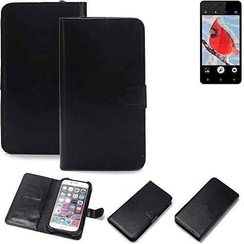 K-S-Trade® 360° Wallet Case Handyhülle Für Allview V2 Viper I4G Schutz Hülle Smartphone Flip Cover Flipstyle Tasche Schutzhülle Flipcover Slim Bumper Schwarz, 1x