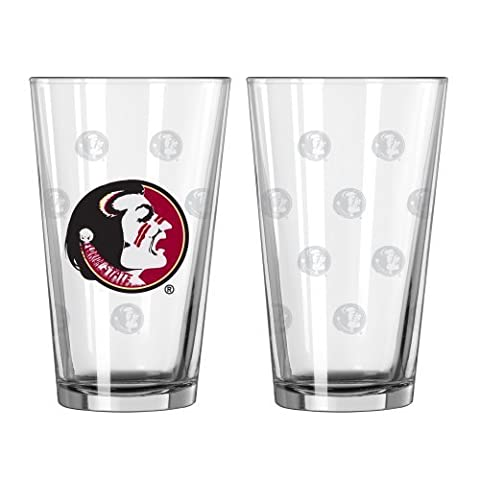 NCAA Florida State Seminoles Satin Etch Pint Glass Set (Pack of 2), 16-Ounce by Boelter Brands