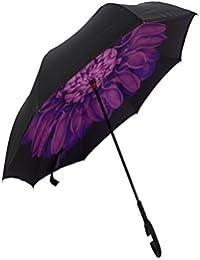 EI Paraguas Doble Capa a Prueba de Viento Impermeable Protección UV Sol Bloque Bumbershoot con las Manos de Manija Prueba De Viento aplicable Para Viajar