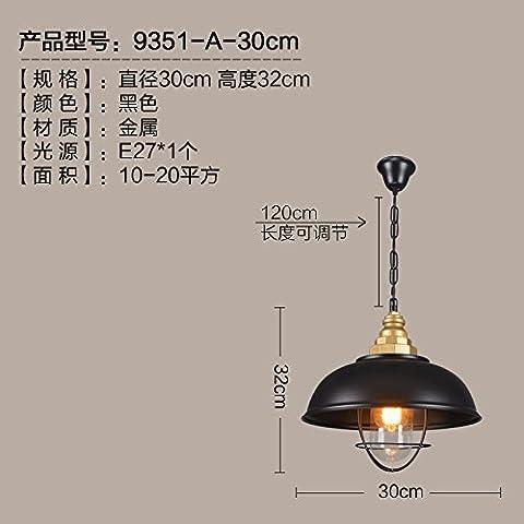 Moderna lampada pendente Il Nordic American retrò lampade da biliardo villaggio carattere creativo industria pranzo il vento a tre teste, nero ,30*32cm