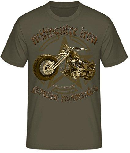 Biker Shirt T-Shirts Milwaukee Iron Chopper Bobber Route 66, Skull V2 Motorrad Army Chopper oliv