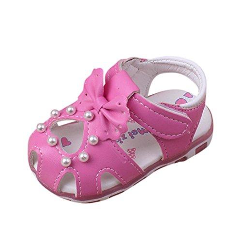 FNKDOR Neugeborene Baby Mädchen LED Licht Sandalen Leuchtschuhe 1-2 Jahre Babyschuhe Bowknot Schuhe (6 Monate / 11.5 cm, Rosa)
