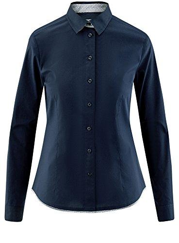 oodji Ultra Damen Tailliertes Hemd mit Kontrastbesatz Blau (7901N)