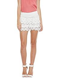 CAMEY Women's Cotton Lace Spinning Cover Stretch Waist Flared Shorts (Free Size, White)