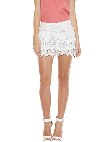 7. Camey Women White Lace Spinning Cover Stretch Waist Flared Casual Shorts