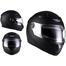 MOTO X86 Matt Black · Urban Moto motocicleta Scooter Fullface-Helmet Urbano Casco Integrale Sport Cruiser · ECE certificado · visera incluido · incluyendo bolsa de casco · M (57-58cm)