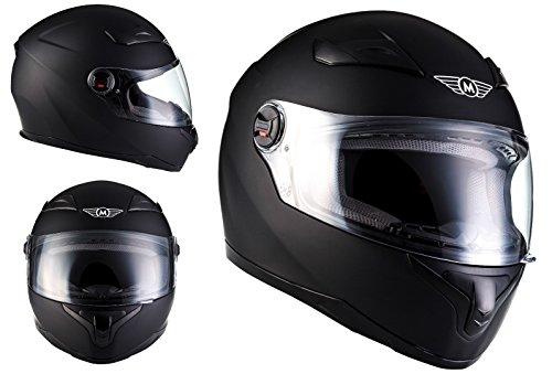 MOTO HELMETS X86 Matt Black Casco Integrale Cruiser Helmet Sport Urban Urbano MOTO HELMETS Scooter, ECE Certificato, Compresi Parasole, Compresi Sacchetto Portacasco, Nero Opaco, XXL (63-64cm)