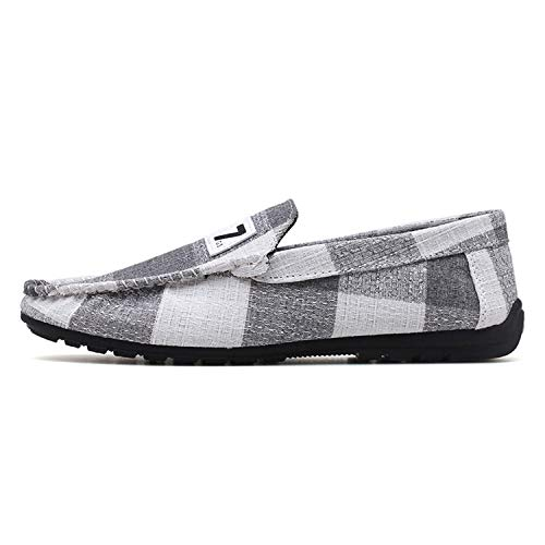 2019 Men Loafers Shoes British Style Man Casual Shoes Spring Summer Breathable Comfortable Male Canvas Flats Shoes Gray 9.5 -