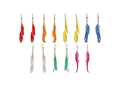 e6e4bdee5 Nawab Combo of 7 Pairs Boho Gypsy Tassel Feather and Golden Chain Earrings  for girls and women (Blue,Green,Orange,Pink,Red,White,Yellow)