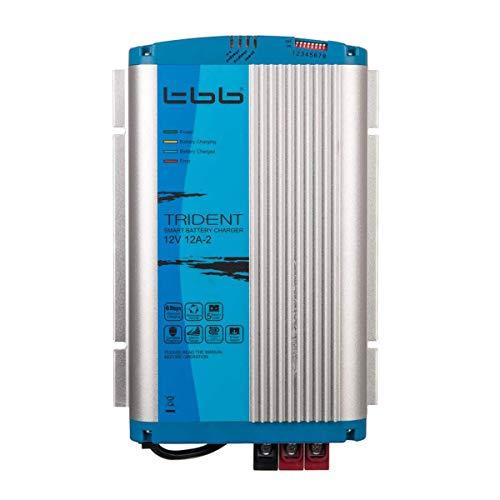 Trident TBB Power BP1212-2A Ladegerät, 12V, 12A, 2 Ausgänge, mit 1.5m Kabel und Temperatur Sensor, für KFZ, LKW, Wohnmobil, Boot, Blau und Silber -