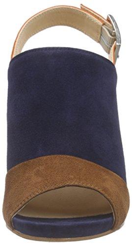 Unisa - Yuse_ks, Scarpe col tacco con cinturino a T Donna Multicolore (Mehrfarbig (NAVY/WALNU))