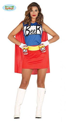 Frau Kostüm Mann Und Für - shoperama Damen-Kostüm Simpsons Bierfrau Kleid mit Dosenhalter-Gürtel Duff Beer Man Woman Biermann Bier-Mann Bier-Frau, Größe:M