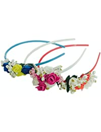 Loops N Knots Plastic Crown Hairband For Girl'S (Red, Blue And Pink) - Set Of 3