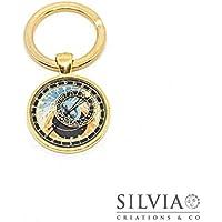 Portachiavi oro con orologio astronomico
