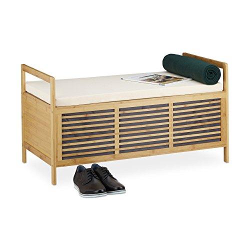 Relaxdays Bambus Sitzbank mit Stauraum L HxBxT 46x93x50 cm Sitzhocker in Naturoptik mit Sitzkissen als praktische Fußablage und Aufbewahrungsbox mit Klappe zum Öffnen für Bad und Wohnräume, natur