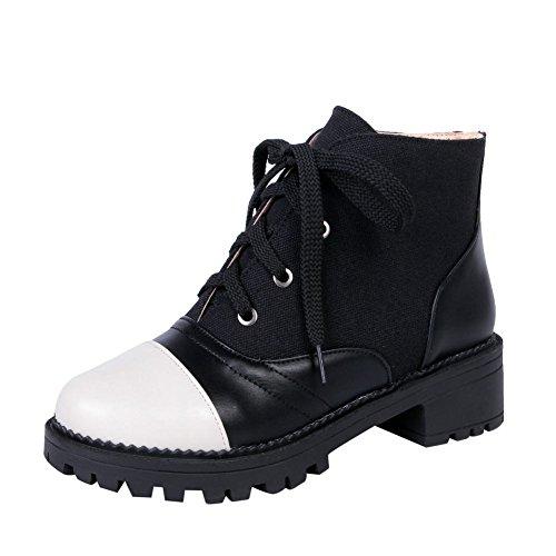 Mee Shoes Damen chunky heels Plateau Schnürsenkel Stiefel Schwarz