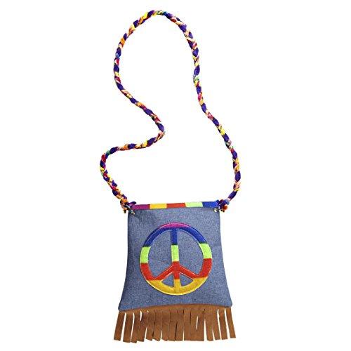 Peace Hippietasche Flower Power Beutel 70er Jahre Fransentasche Hippie Tasche Karneval Kostüm Accessoires Damen Retro Mottoparty Stofftasche 60er Jahre Damentasche