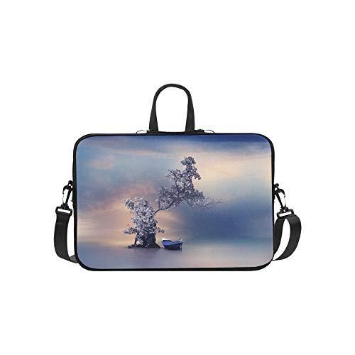 EIN einsames Boot unter Einem Baum-Muster-Aktenkoffer-Laptoptasche-Messenger-Schulter-Arbeitstasche Crossbody-Handtasche für das Geschäftsreisen -