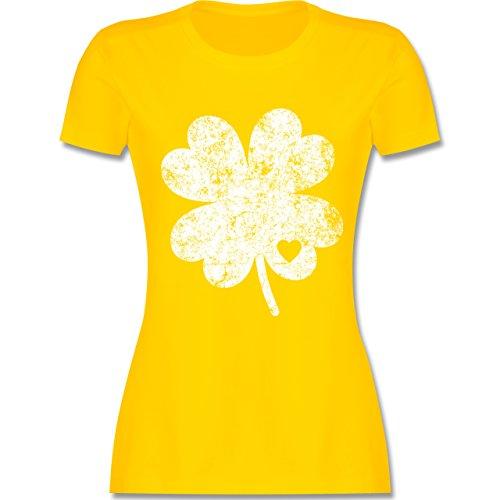 St. Patricks Day - Vintage Kleeblatt mit Herz - L - Gelb - L191 - Damen Tshirt und Frauen T-Shirt (Damen Kobold Kostüm Tshirt)