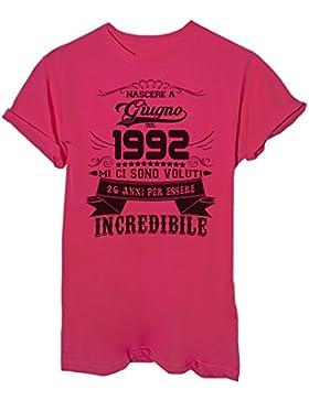 iMage T-Shirt Compleanno Nato A Giugno del 1992-26 Anni per Essere Incredibile - Eventi