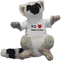 Shopzeus Lémur de cola anillada personalizado de peluche (juguete) con Amo Barcelona en la