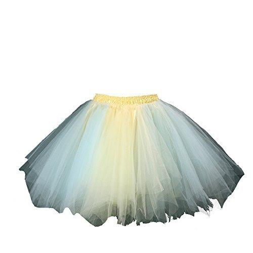 Honeystore Damen's Tutu Unterkleid Rock Abschlussball Abend Gelegenheit Zubehör Blau und Gelb - Adult Kostüm Julia