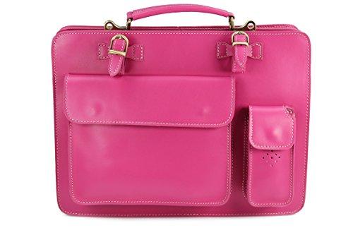 BELLI Design-Bag Voll Leder Echt Leder Businesstasche pink fuchsia DIN A4 geeignet 39x29x11 cm (B x H x T) (Rosa Aktentasche Leder)