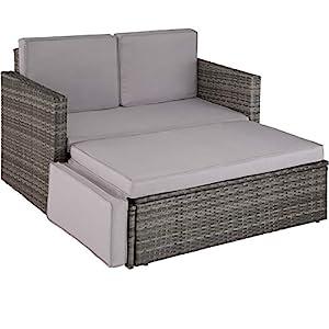 TecTake 800693 Poly Rattan Lounge Set, 2 Sitzer Sofa mit Hocker, Ottomane, inkl. Dicke Auflagen – Diverse Farben (Grau | Nr. 403125)