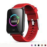 AXDNH Männer-Uhren-Sport-Positionierung Bluetooth-Herzfrequenzmonitor Pedometer Aufladen Clip-Ladegerät-Support-System Android 4,3 oder IOS 7,0 oder über Smart Armband,Red