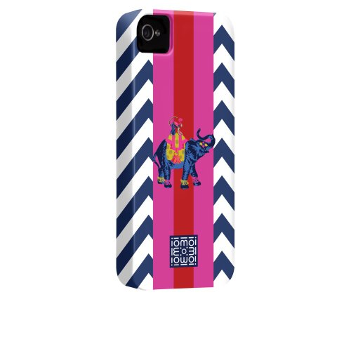 Case-mate iomoi Barely There Designer Cases for Apple iPhone 4/4s - Monkey with Umbrella Ling Blue Elephant