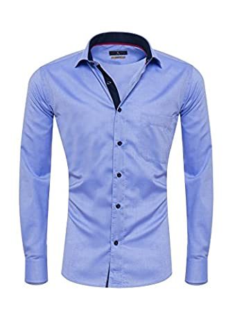 Giorgio Capone Herrenhemd, 100% Baumwolle, blau mit dunkel-blauen und roten Akzenten, Langarm, Slim & Regular Fit (M (Easy Care Leinenhemd)