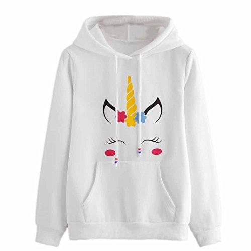 Sweatshirt Femme Imprimé, LMMVP Femmes Sweat à Capuche Licorne Imprimé Pullover Sweat-shirt Chemisier (L, Blanc)