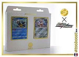 Tortank (Blastoise) 25/181 Y Scalproie (Bisharp) 105/181 - #tooboost X Soleil & Lune 9 Duo de Choc - Box de 10 Cartas Pokémon Francés + 1 Goodie Pokémon