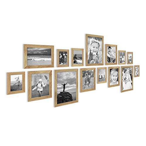 Photolini 15er Bilderrahmen-Collage Basic Collection Modern Eiche Massivholz inklusive Zubehör/Foto-Collage/Bildergalerie/Bilderrahmen-Set