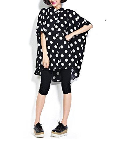 ELLAZHU Damen Übergröße Polka Punkte Asymmetrisch Saum Bluse Shirt GA74 A Schwarz