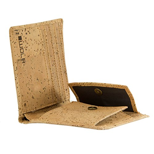 WOLA Herren Portemonnaie Kork Geldbeutel 4 Kreditkarten-Fächer Geldbörse mit Münzfach Korkleder vegan Natur Portmonee