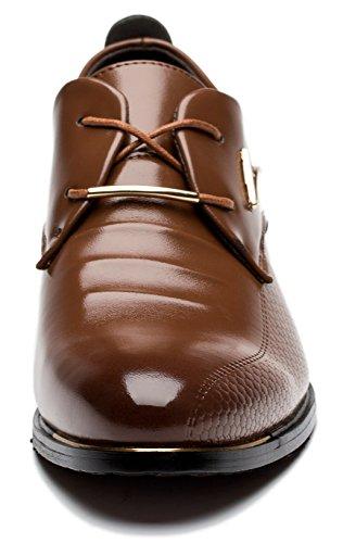 Viihahn Hommes Cuir à Lacets Bout Pointu Robe De Mariée D'affaires Oxfords Chaussures Marron