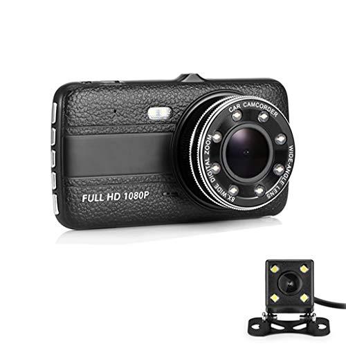 XCJIY Doppelobjektiv-Überwachungskamera Full HD 1080P-Überwachungskamera 4-Zoll-LTPS-Display 170 ° Weitwinkel, G-Sensor, Parkmonitor, Loop-Aufnahme, Bewegungserkennung Car Audio Pro 1 Amp