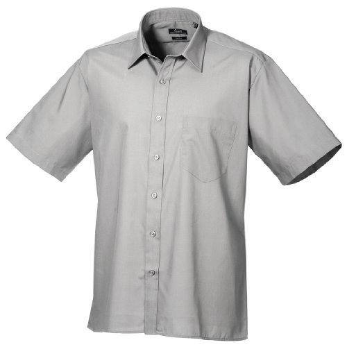 Premier Workwear Poplin Short Sleeve Shirt, Camicia Uomo Argento