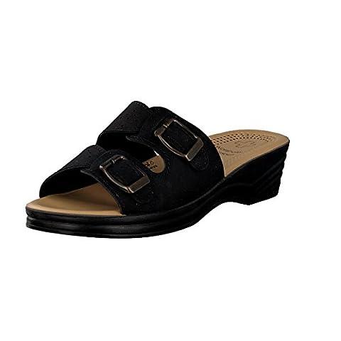 BRANDSSELLER Sandales pour femme Mules réglables grâce à 2 boucles - Semelle intérieure: Wörishofer - Coloris: Noir - Pointure: 39
