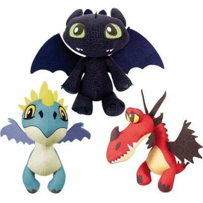 """HTTYD Drachenzähmen leicht gemacht - Dragons - Pack 2 Plüsch Light Fury weiße + Ohnezahn Toothless schwarz - Qualiät super Soft 11'80""""/30cm (40 cm Schwanz enthalten)"""