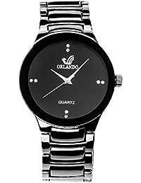 Orlando Black Dial, Plated Metal Belt Analogue Quartz Movement Watches for Men