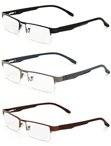 VEVESMUNDO Lesebrillen Herren Damen Klassische Metall Halbrandbrille Lesehilfe Federschaniere Klar Brille Augenoptik Vintage Sehhilfe Arbeitsplatzbrille Sehstärke (3 Lesebrillen, 1.5)