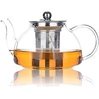 Théière 800ml / 28oz, Théière en verre résistant à la chaleur avec infuseur amovible, Pots à thé en vrac, Micro-ondes et coffre-fort