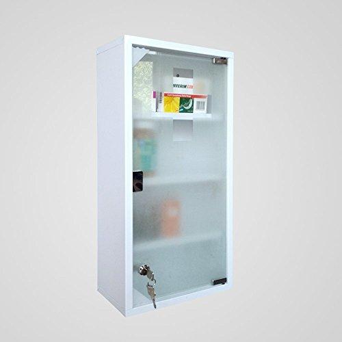Style home Edelstahl Medizinschrank Arzneischrank Erste Hilfe Schrank mit Schloss Hausapotheke Größe (Weiß, 60x30cm)