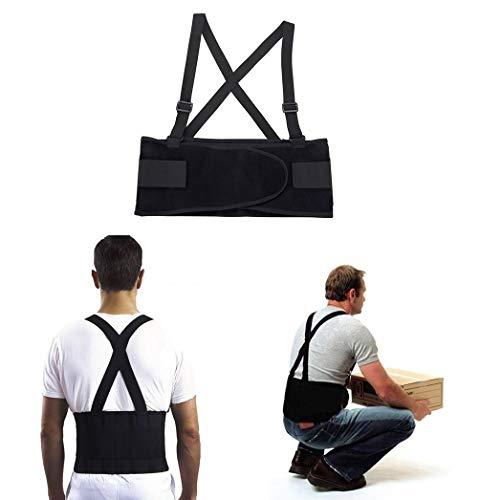 JeVx Faja Lumbar de Trabajo para Hombre para la Espalda REFORZADA DOBLE CIERRE y TIRANTES Cinturon Abdominal Corrector Reductora Dolores Compresora Lumbares (L)